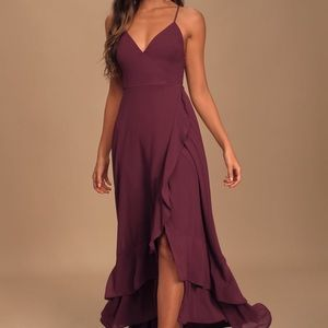 NWT Lulus In Love Forever Plum Lace-Up Maxi Dress